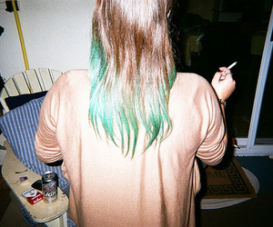 hair, cigarette, and green image