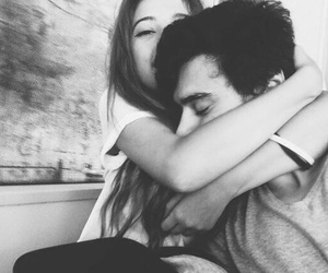 black and white, couple, and hugs image