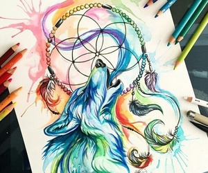 drawing, art, and wolf image