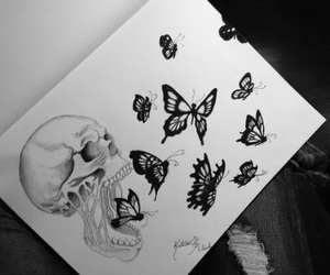 art, butterflies, and drawing image