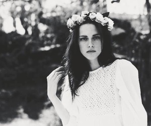 kristen stewart, flowers, and black and white image
