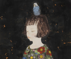 little girl, painting, and bird. image