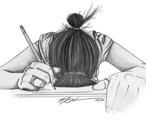 drawing, school, and tired image