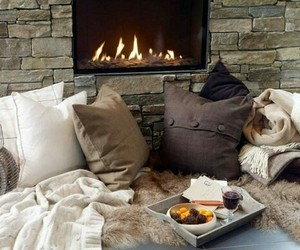 cozy, fire, and winter image