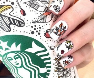 nails, starbucks, and autumn image