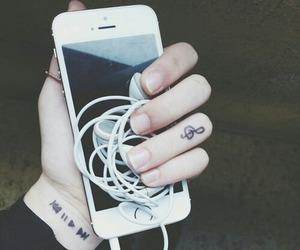 music, iphone, and tattoo image