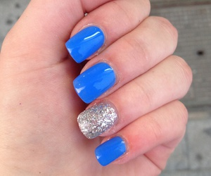 blue, glitter, and nail image