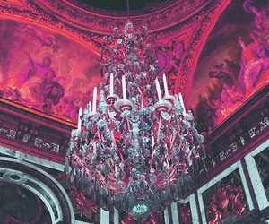 chandelier, palace, and pink image
