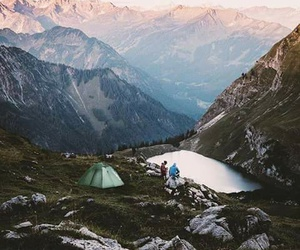 camp, lake, and mountains image