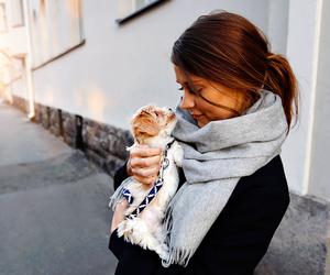beautiful girl, dog, and gitl image