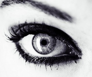 b&w, eye, and eyeliner image