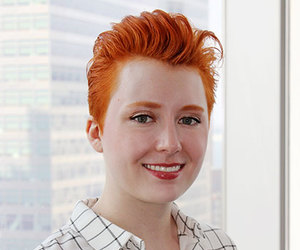 hairstyle, redhead, and short hair image