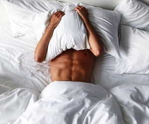 bed, guy, and tan image