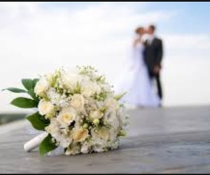 wedding, flowers, and couple image