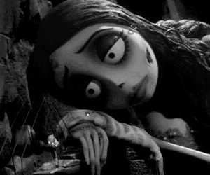 corpse bride, black and white, and sad image