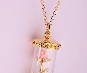 rose, gold, and necklace image