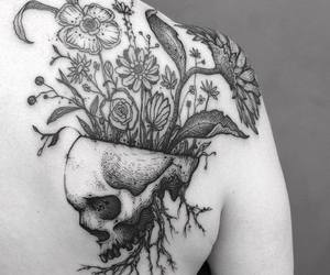grunge, ink, and flower tattoos image
