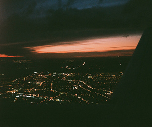 airplane, city, and dark image