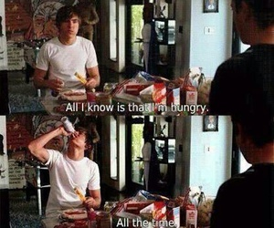 zac efron, food, and hungry image