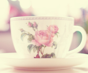 flowers, cup, and cup of tea image