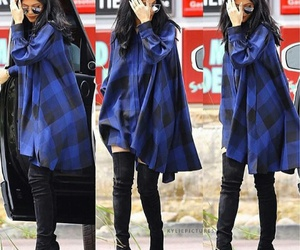 kylie jenner, straight black hair, and black knee high boots image