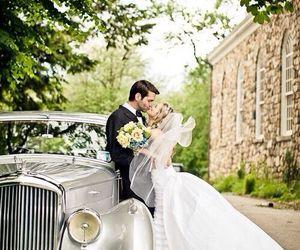 love, wedding dress, and couple image