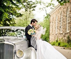 love, wedding dress, and couple image