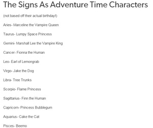 adventure time and the zodiac signs image