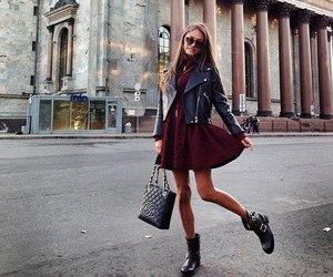 boots, girl, and burgundy image