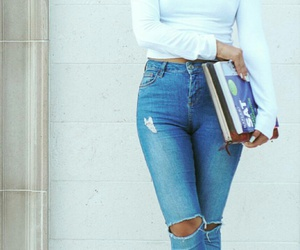blue ripped jeans, blue high waisted jeans, and white crop long sleeve image