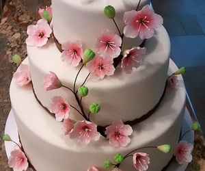 cake, flower, and wedding image