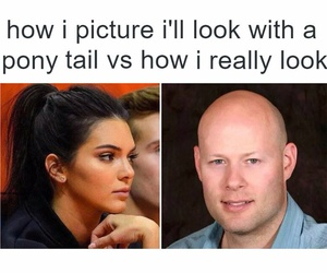 funny, bald, and ponytail image