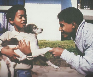 dad, dog, and family image