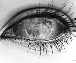 moon, eye, and black and white image