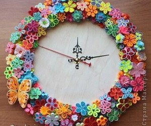 clock, paper quilling, and diy image