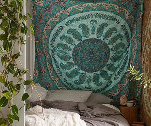 bed, bedroom, and nature image