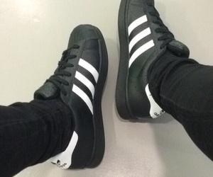 adidas, black and white, and grunge image