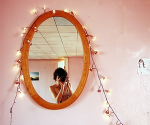 light, mirror, and pink image
