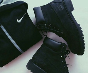 black, nike, and boots image