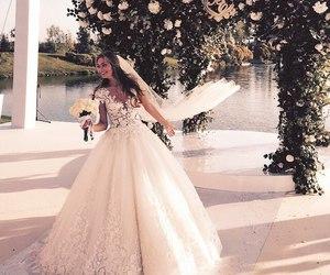 wedding dress, wedding, and marriage image