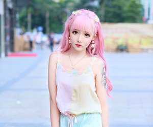 fashion, pink hair, and cute image