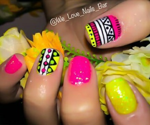 amarillo, fucsia, and nail art image