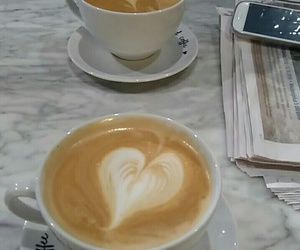 cafe, heart, and coffee image