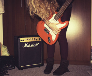 blonde, girl, and guitar image