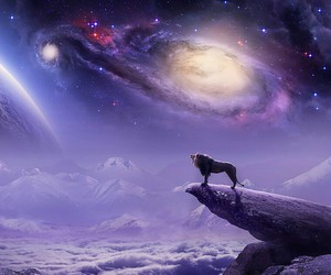 lion, galaxy, and purple image