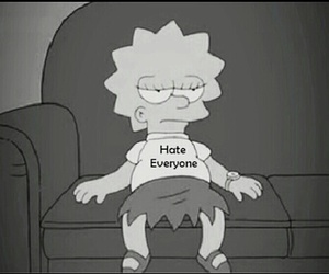 black and white, simpsons, and hate image