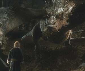 smaug, the hobbit, and bilbo baggins image