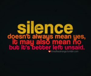silence and text image