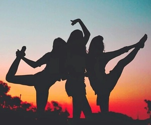friends, friendship, and sunset image