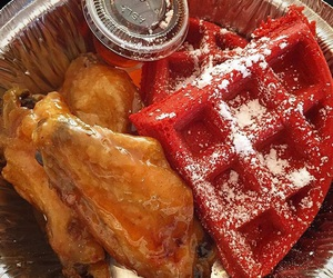 yum, comfort food, and red velvet waffles image